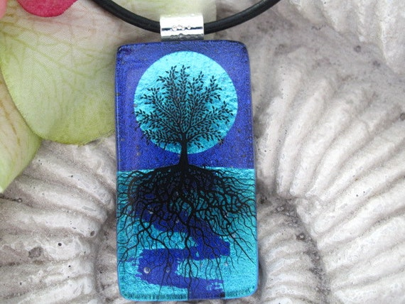 Tree Necklace - Blue Moon -  Tree of Life -  Dichroic Fused Glass Jewelry  - Pendant - Dichroic Glass -  080112p106RL