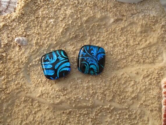 Dichroic Glass Earrings - Blue Post Earrings, -Dichroic Fused Glass Jewelry -  Fused Dichroic Glass Post/Stud Earrings 082612e101