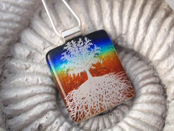 Tree Necklace - Rainbow Tree of Life - Fused Glass Pendant - Dichroic Glass Jewelry - Rainbow Jewelry 121412p108