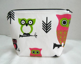 Owl Make Up Bag - Owls on a Branch Cosmetic Bag - Pink Lime Green - Owls Cosmetic Zippered Pouch