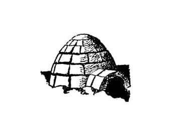 CLEARANCE Eskimo Inuit igloo Rubber Stamp Ice house