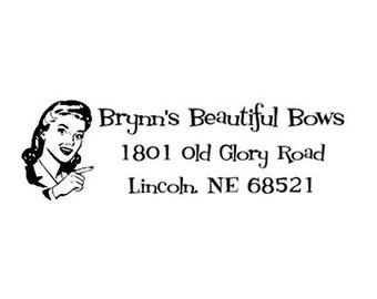Retro lady Return Address custom Rubber Stamp