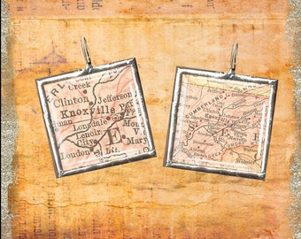 Knoxville tn soldered art pendant 1917 map for Joe shirt knoxville tn