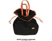 SALE 30% off (Coupon code - Happy2013) QUOTE Leather and Canvas Flora Bag -- BlacK