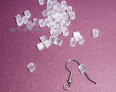 288 Clear Plastic Earring Backs, ribbed - plastic stops, clutches, nuts, French hook backs, stoppers