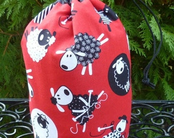 Drawstring bag, WIP bag, knitting project bag, knitting sheep on red, Suebee
