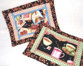 Set of Two Quilted Mug Rugs, Coffee for Two
