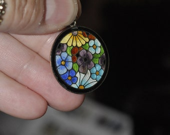 Antique art deco enamel floral pendant