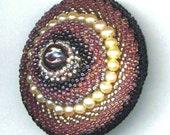 Beaded Black Pearl . Beadwoven Brooch . Genuine Pearls . Mandala . Raspberry . Lilac . Lavender - Monster Eye ll. by enchantedbeads on Etsy