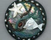 Mother of Pearl Beadwoven Beaded Brooch . Mermaid Pearls . Fish, Starfish, Ocean . Red Agate - Mermaid World OOAK by enchantedbeads on Etsy