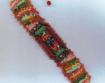 Beadwoven Freeform Bracelet. Red Fruit Bracelet. Beaded Bracelet. Cherries Blackberries. Fruit Punch- Tutti Frutti by enchantedbeads on Etsy