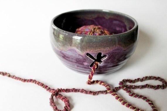 Yarn Bowl, Knitting Bowl, with Dragon Fly Cutout Multi Use