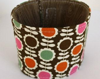 Coffee Cozy - Brown, Pink, & Orange Retro Floral - Reversible