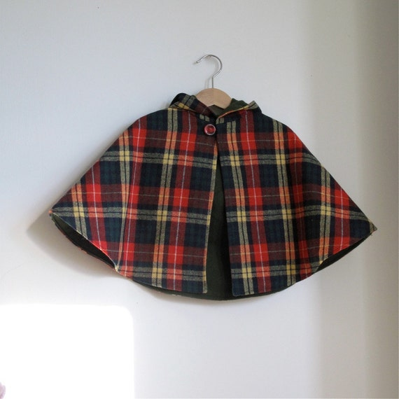 Wool Plaid baby or toddler hooded children's cape - boy or girl  - sizes Newborn to toddler 3/4 - cape, cloak, coat, jacket, hoodie