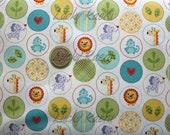 SALE/CLEARANCE Dena Designs, Happi, Animal Circles Blue Fabric - Half Yard