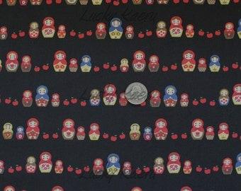 SALE Kawaii Japanese Matryoshka Apple Row Black Fabric - Half Yard