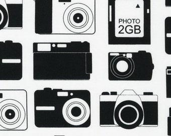 Robert Kaufman, Print and Pattern, Boy Toys, Camera Black Fabric - REMNANT Size 25 Inches by 44 Inches