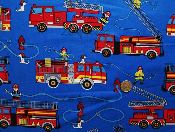 Timeless Treasures Fire Trucks Royal Blue Fabric By The Yard