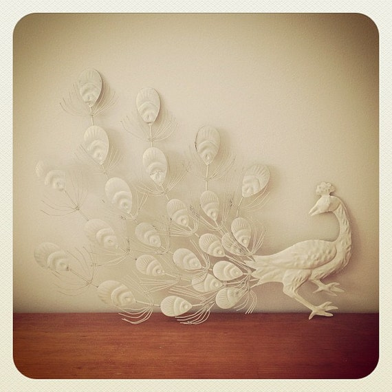Vintage White Metal Peacock Wall Art Shabby By