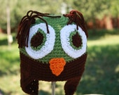 Ready to Ship Crochet Owl Earflap Hat in Green and Black for Toddler
