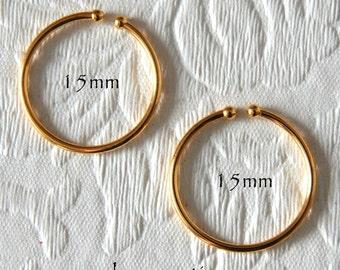Hoop Earrings 15mm Non-Pierced Gold Plated Brass - 1 pair