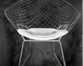 Bertoia  Chair Print  - from the Modern Design Deck Chalkboard series  - mid century modern - 22x 28 inch wheatpaste paper print