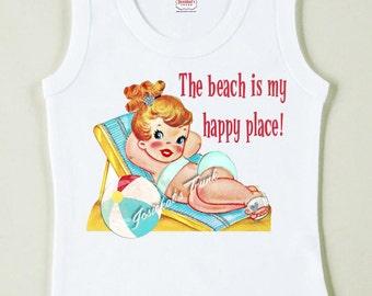 "Beach Girl Shirt ""The beach is my happy place"" Sunbathing Tshirt Vintage Tee Custom Size Retro"