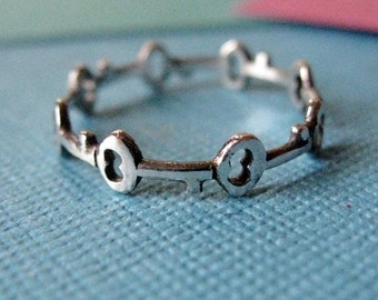 Antique Key Circlet Ring Sterling Silver