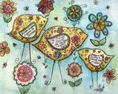 Whimsical Inspiring  Bird Print Illustration Watercolor Ink Wall Art by Shelley Szczucki