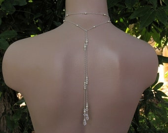 Bridal Lariat Necklace Choker Style with Swarovski Pearls, Crystals and Teardrops with Backdrops - Handmade Wedding Jewelry