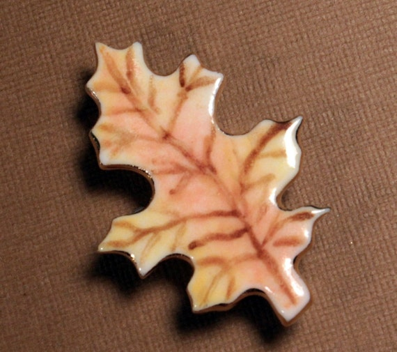 Leaf Brooch Handmade Porcelain Ceramic Jewelry By Linda Cain