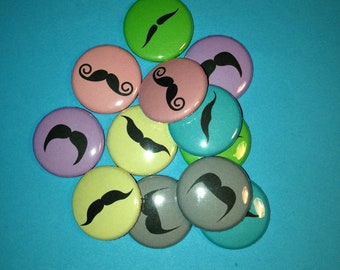 15 Mustache Flat back Buttons or Pinback Buttons