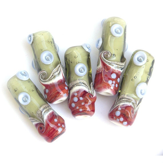 Retro - Lampwork Glass Bead Set in Dark Red, Pale Green and Lavender, Tube Shapes (5)