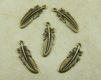 5 Large TierraCast Bird Feather Charms > Eagle Hawk Crow Indian - Brass Ox Plated Lead Free Pewter - I ship Internationally 2045