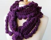 SAMPLE SALE Women's Fashion Accessories - Unusual Crochet Scarf - Merino Wool - Purple Plum