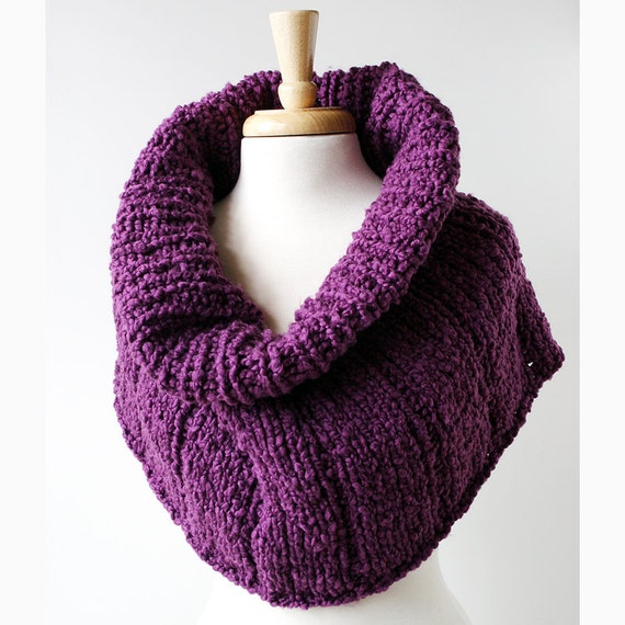 Fall Fashion - Purple Plum Knit Capelet - Knit Cape, Scarf, Cowl alternative