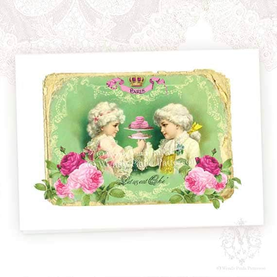 Let them eat Cake, Children of Versailles, Marie Antoinette, Greeting Card, French, Pink Roses, Macarons, Birthday Card