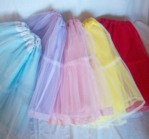 Sweet Gothic Lolita LACE PETTICOAT Net Layer Skirt (Pink, Blue, Lilac, Red, or Yellow)