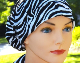 SMALL Surgical Scrub Hat Chemo Cap- Perfect Fit Tie Back with Fabric Ties- Zebra