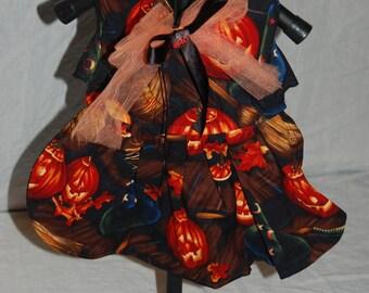 Halloween pumpkin witch small dog or cat dress
