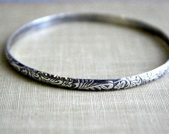 Ornate Floral Sterling Silver Bangle Bracelet- Polished, Oxidized Fall Fashion Stacking Bangle