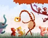 "Giraffe Nursery, Baby Room Decor, Elephant Painting, Nursery Art - ""Dancing Days"""