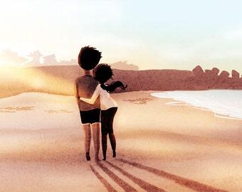 """Beach Art, Ocean Art, Couples Art, Wall Decor- """"We lived by the ocean"""""""