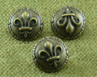 Ancient Rome Fleur De Lis  French Antique Brass Buttons    C26