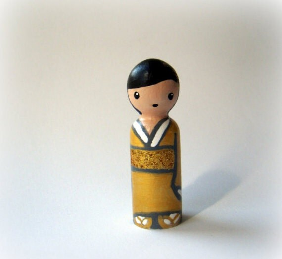 Mini Golden Kokeshi - An Original Miniature Peg Art Doll