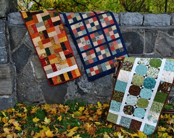 Patchwork Table Runner Pattern....three different projects, Quick and Easy...ONE Charm Square Pack or Scraps