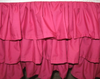 3 tiered solid color ruffled crib skirt - 4 sided