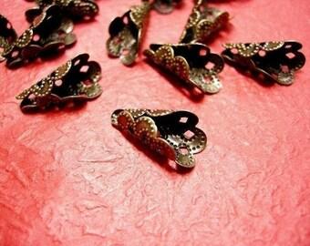 20pc antique bronze filigree cone shape bead cap-3257