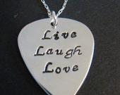 Sterling silver guitar pic with custom wording on an 18 inch sterling silver chain