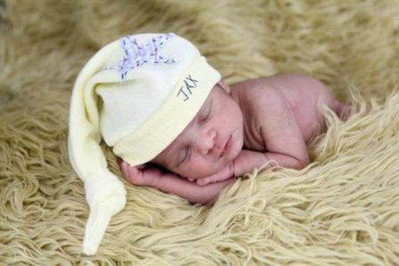 Infant Jax Hat Long tail recycled sweater hat in yellow with heart and button applique
